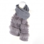Preview: Cashmere Scarf in grey with finnraccoon fur stripes