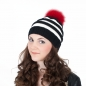 Preview: Hand-Knitted Striped Cap, Lana Grossa with Red Pompom