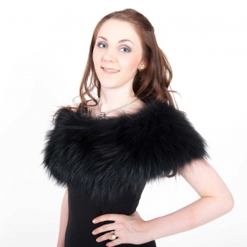 Stretch Stole Made of Black Silver Fox Fur