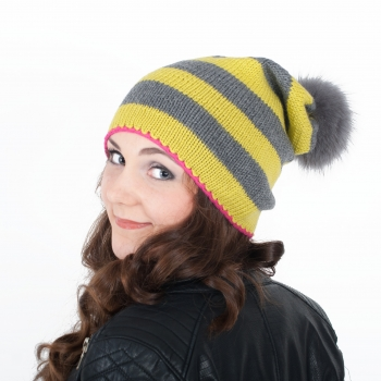 Pink, Yellow, Grey: Striped Knitwear Beanie with Fur Pompom