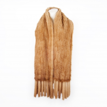 Large Knitted Mink Scarf, honey