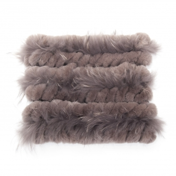 brown Loop Scarf made of Fur and Knitwear