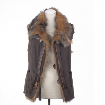Fur Waistcoat – Used Look Double-Sided Fox Fur Vest