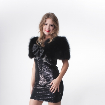 Fur Stole with Silk Ribbon