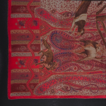Cloth with Hunting Motive made of Silk and Cashmere, 85 x 85 cm