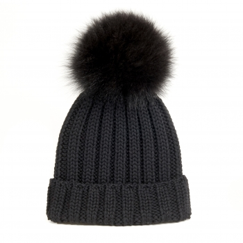 knitted Wool Cap with Fox Pompon, black