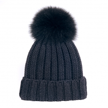 knitted Wool Cap with Fox Pompon, anthrazit