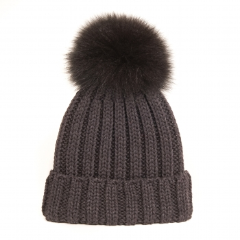 knitted Wool Cap with Fox Pompon, darksaddle - brown