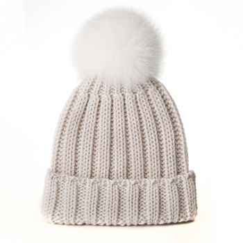 knitted Wool Cap with Fox Pompon, cornsilk