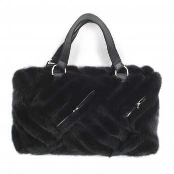 Woman´s Mink Fur Handbag - Cologne Noir