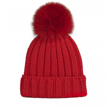 knitted Wool Cap with Fox Pompon, red