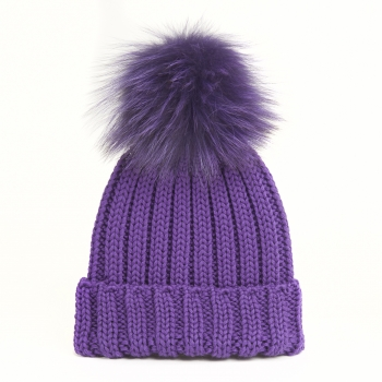knitted Wool Cap with Fox Pompon, violet