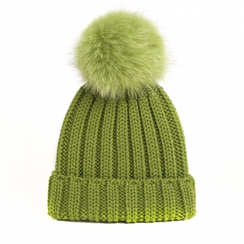 knitted Wool Cap with Fox Pompon, vapami- green