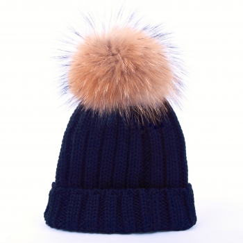 knitted Wool Cap with Pompon, raccoon- blue