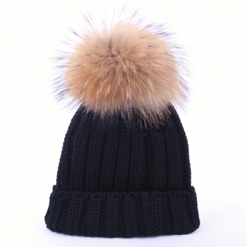 knitted Wool Cap with Pompon, raccoon- black