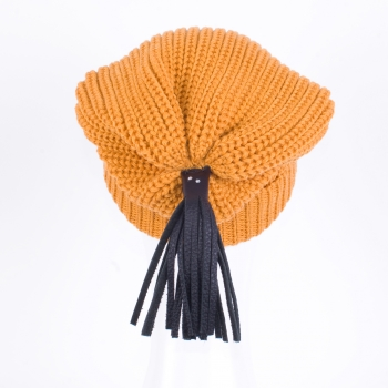 Beanies with leather tassels and Swarovski crystals, maize
