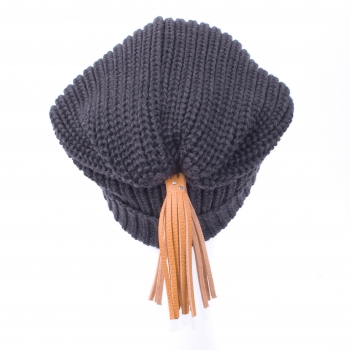 Beanies with leather tassels and Swarovski crystals, anthracite