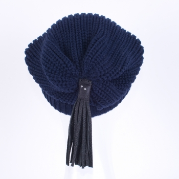 Beanies with leather tassels and Swarovski crystals, blue