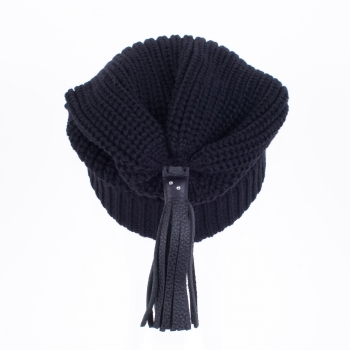 Beanies with leather tassels and Swarovski crystals, black