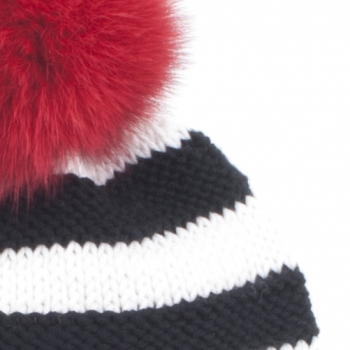 Hand-Knitted Striped Cap, Lana Grossa with Red Pompom
