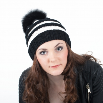 Hand-Knitted Cap with Black Fur Pompom