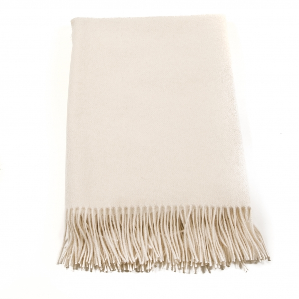 Fringed Cashmere Plaid, beige