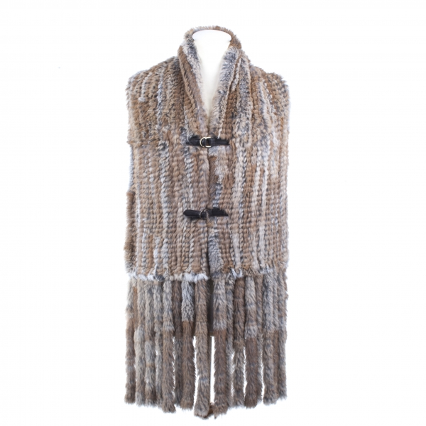 Fringed Rabbit Fur Scarf or Waistcoat without Back Part
