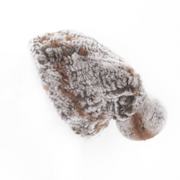 Beanie made of Rex Rabbit Fur, brown chinchilla