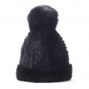 Pompom Hat – Knit Mink Fur Cap, black
