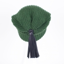 Beanies with leather tassels & Swarovski crystals, bottle green
